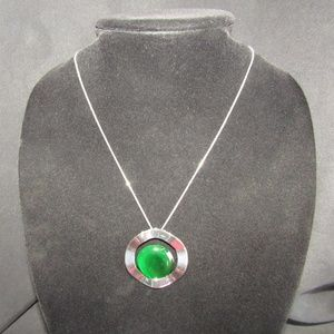 Silver & green artsy necklace NWOT